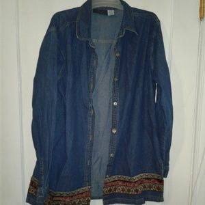 Blue Jean and Velvet Shirt